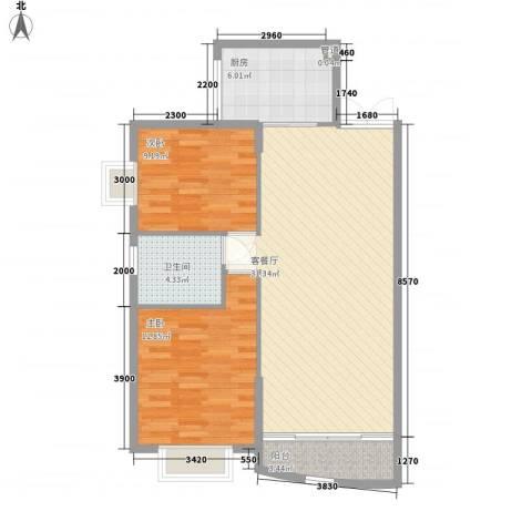 夏威夷花园2室1厅1卫1厨93.00㎡户型图