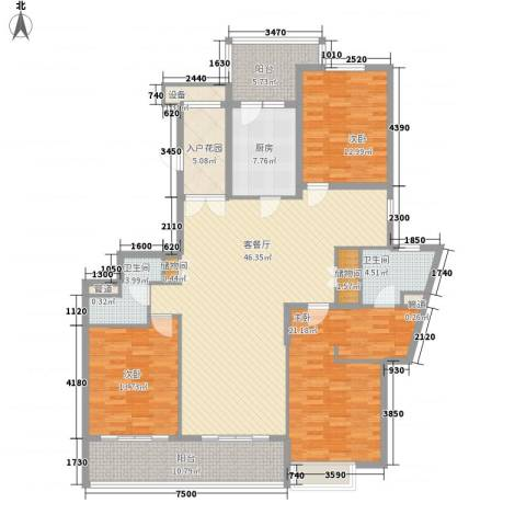 凯德汇豪天下3室1厅2卫1厨135.99㎡户型图
