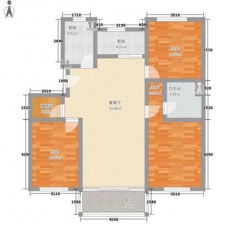 前桥小区3室1厅1卫2厨134.00㎡户型图