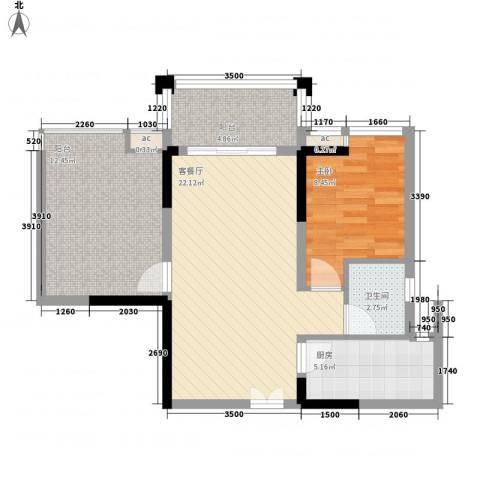 宝安椰林湾1室1厅1卫1厨67.00㎡户型图