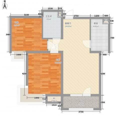 华侨休闲广场2室1厅1卫1厨87.00㎡户型图