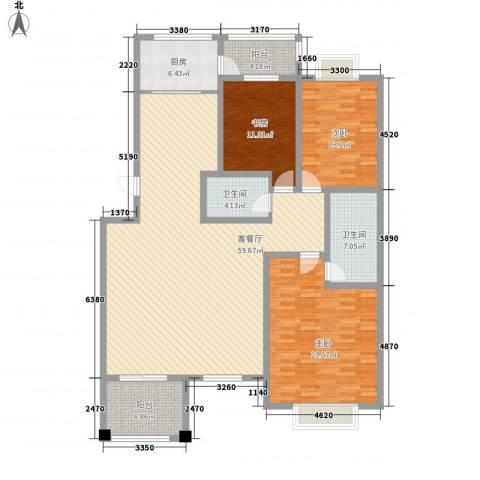 桃园春晓3室1厅2卫1厨191.00㎡户型图