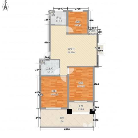 顺园四村3室1厅1卫1厨121.00㎡户型图