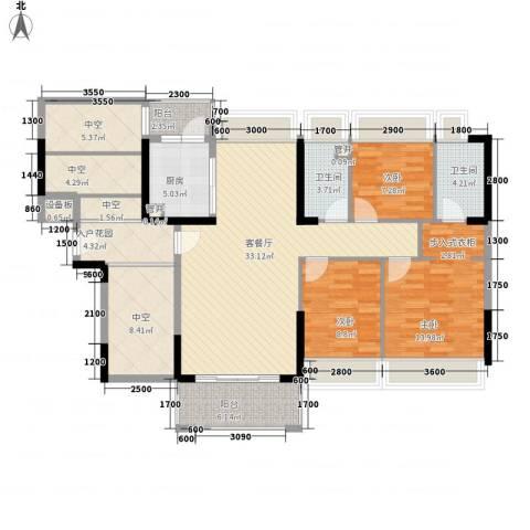 风临美丽湾3室1厅2卫1厨114.00㎡户型图