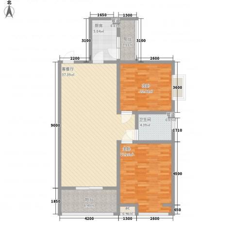 领汇双河湾2室1厅1卫1厨106.00㎡户型图