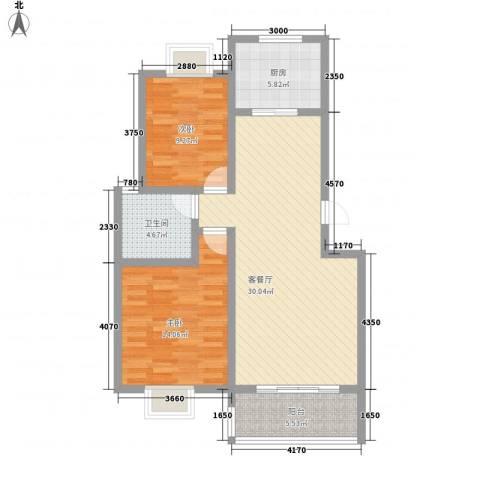 润达小区2室1厅1卫1厨100.00㎡户型图