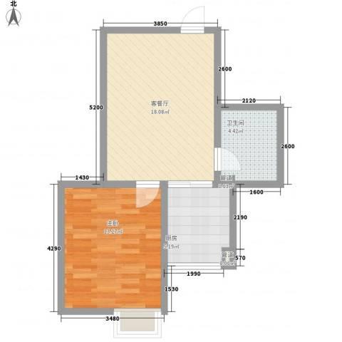 领汇双河湾1室1厅1卫1厨54.00㎡户型图