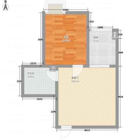 领汇双河湾1室1厅1卫1厨59.00㎡户型图
