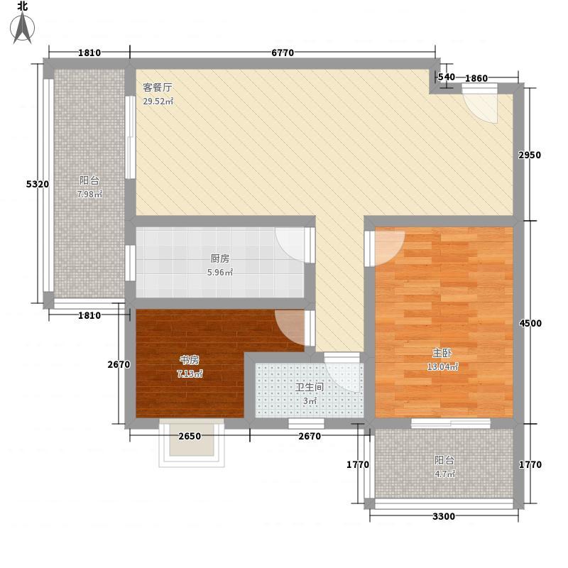 理想岭域户型2室2厅1卫1厨