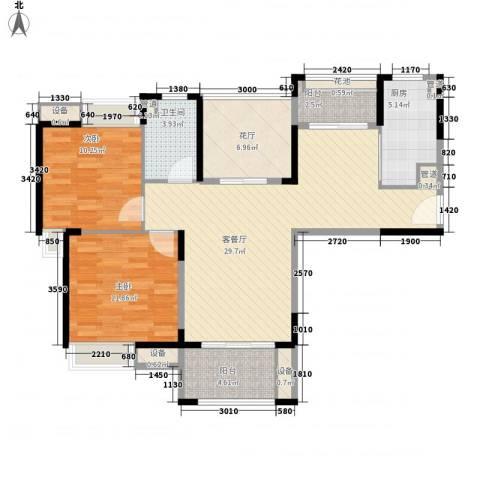 华润置地中央公园别墅2室1厅1卫1厨88.98㎡户型图