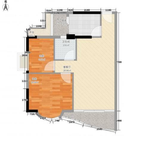 翡翠园山湖居2室1厅1卫1厨71.00㎡户型图