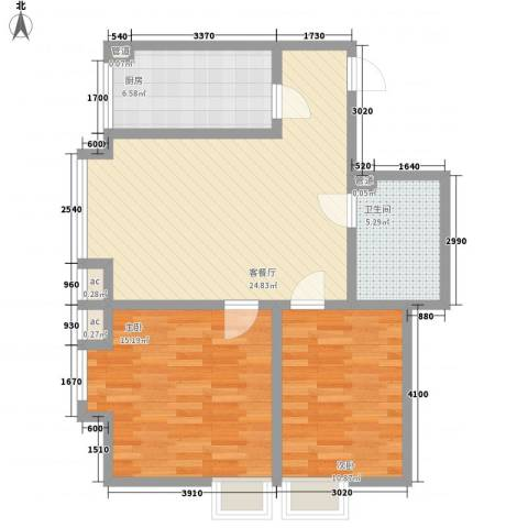 领汇双河湾2室1厅1卫1厨82.00㎡户型图