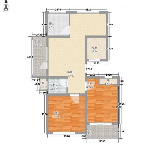 丽和阳光城2室1厅1卫1厨95.00㎡户型图