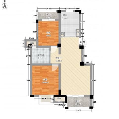 东渡伊顿小镇2室1厅1卫1厨83.00㎡户型图