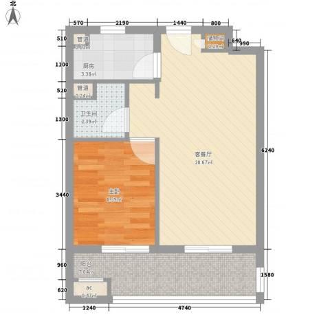 凯德汇豪天下1室1厅1卫1厨62.00㎡户型图