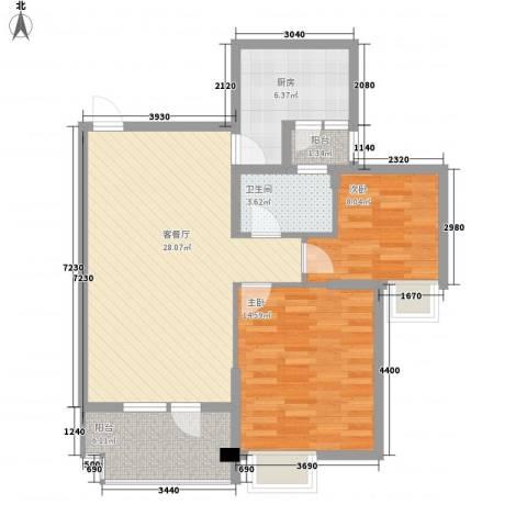 中庚香海小镇2室1厅1卫1厨95.00㎡户型图