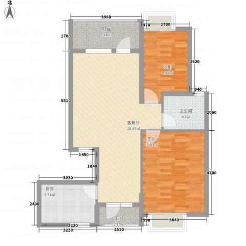 中庚香海小镇2室1厅1卫1厨97.00㎡户型图