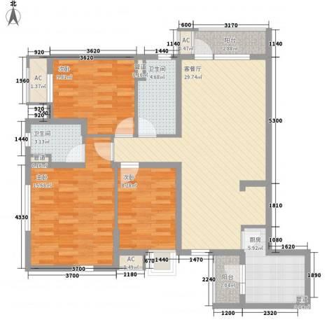 中庚香海小镇3室1厅2卫1厨122.00㎡户型图