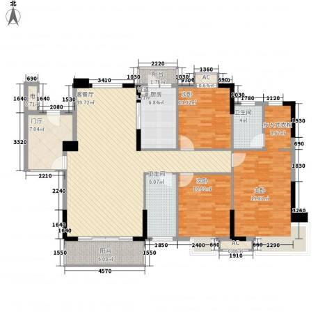 石竹山水园四期3室1厅2卫1厨128.00㎡户型图