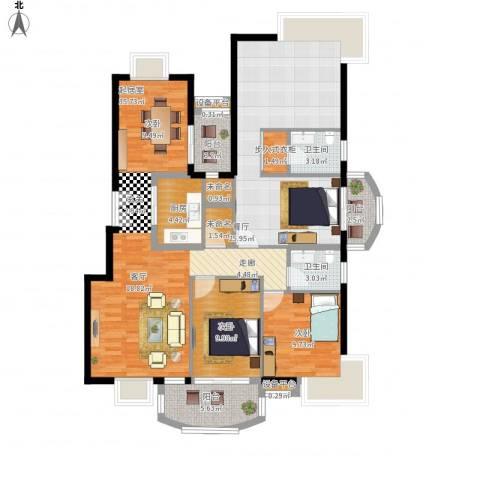 岳麓1号2室1厅2卫1厨155.00㎡户型图