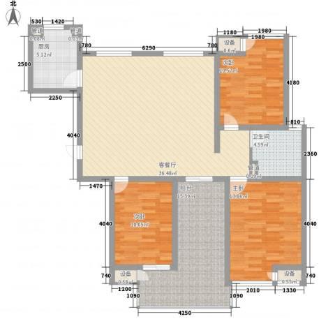 新安大厦3室1厅1卫1厨140.00㎡户型图