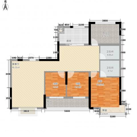 逸静园3室1厅2卫1厨147.00㎡户型图