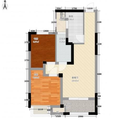 常发香堤半岛2室1厅1卫1厨71.00㎡户型图