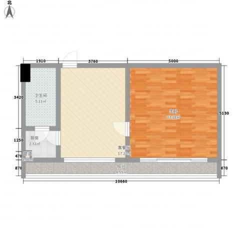 惠普登产权式海景酒店公寓1室1厅1卫1厨78.00㎡户型图