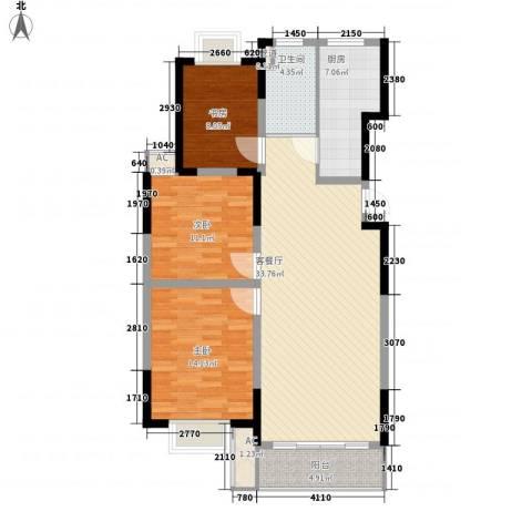 万润阳光丽景3室1厅1卫1厨122.00㎡户型图