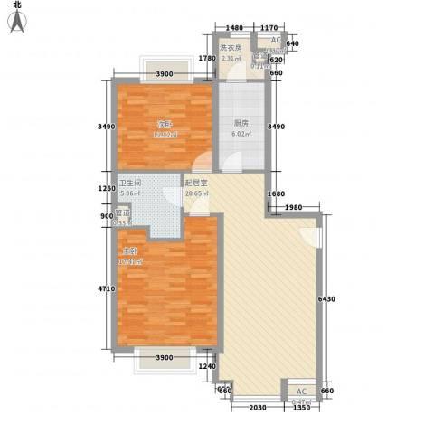 同方世纪大厦2室0厅1卫1厨82.80㎡户型图