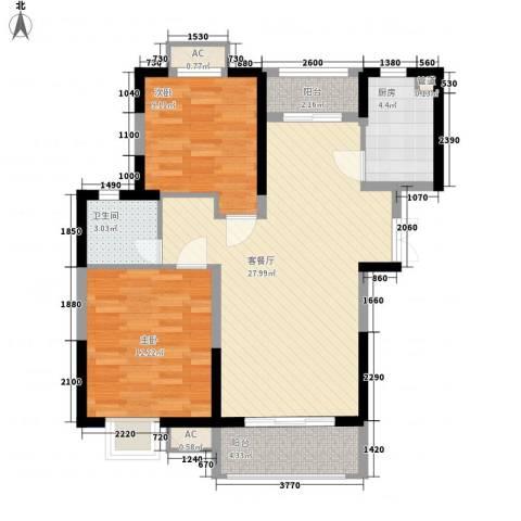 新天地华庭2室1厅1卫1厨91.00㎡户型图