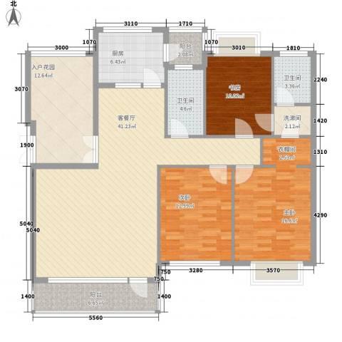 普瑞华庭3室1厅2卫1厨166.00㎡户型图