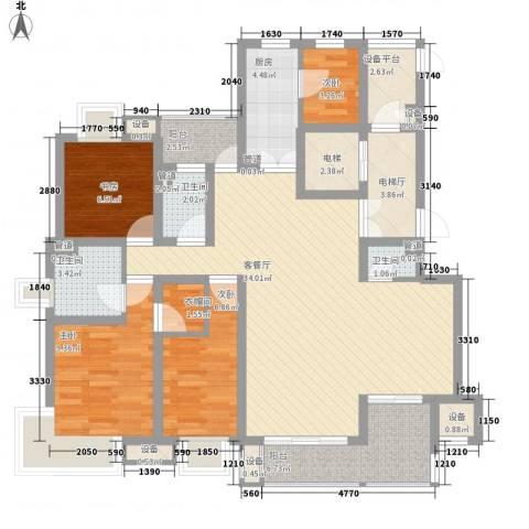 新安大厦4室1厅3卫1厨140.00㎡户型图