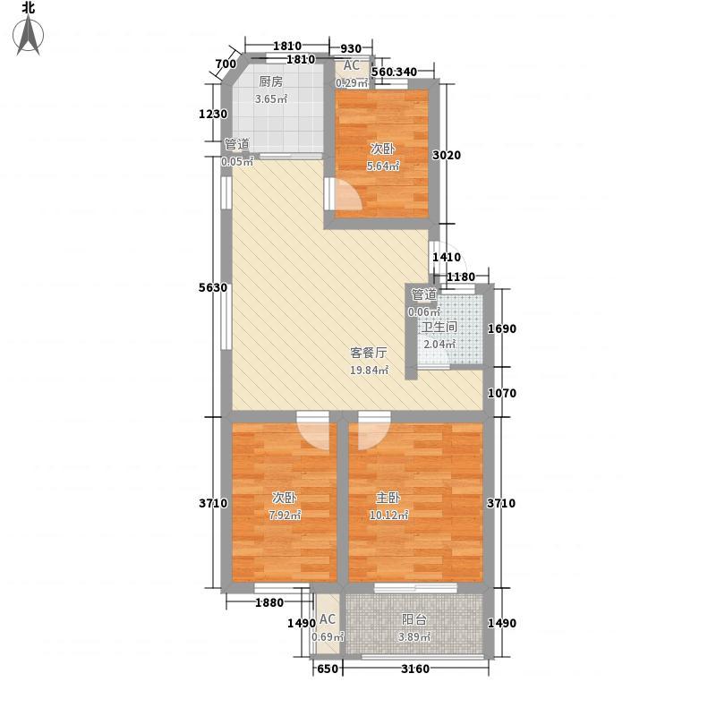 九巨龙・龙城棕榈泉8.00㎡D户型3室2厅1卫1厨