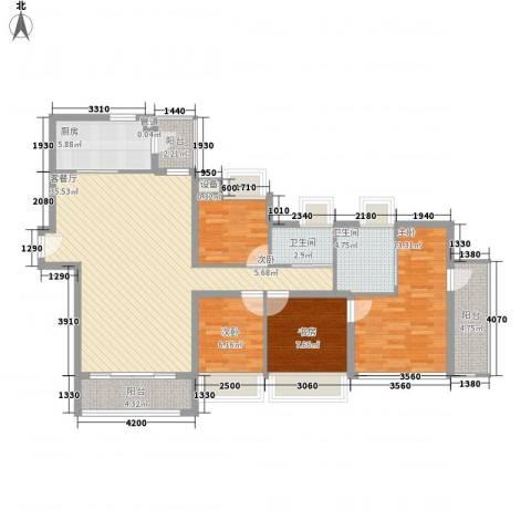 新安大厦4室1厅2卫1厨135.00㎡户型图