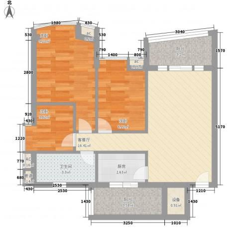 世纪绿洲3室1厅1卫1厨73.00㎡户型图