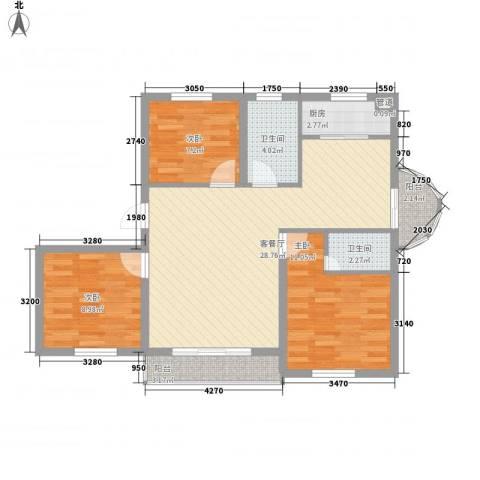 西岸国际3室1厅2卫1厨101.00㎡户型图