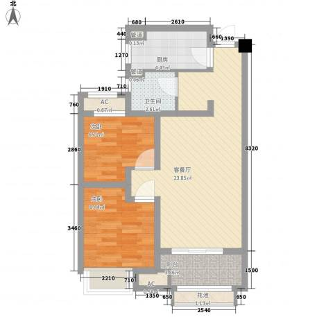 常发香堤半岛2室1厅1卫1厨77.00㎡户型图