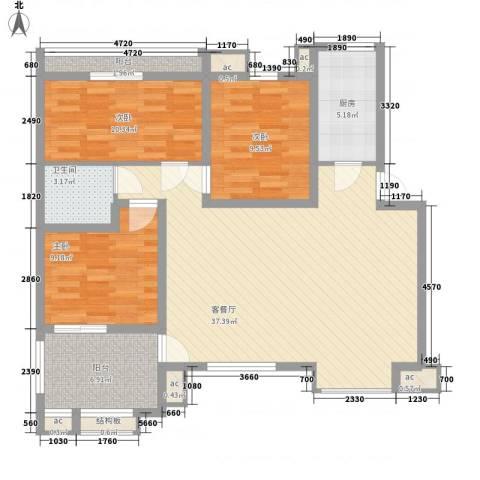 泰山一村3室1厅1卫1厨125.00㎡户型图