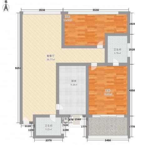 燕山豪园2室1厅2卫1厨114.00㎡户型图