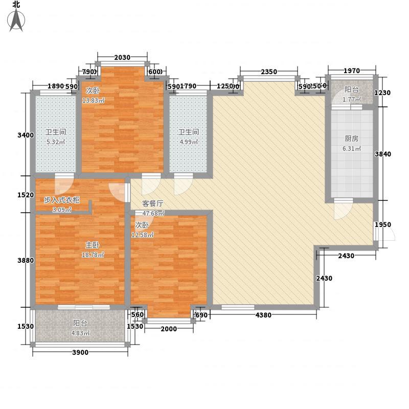 领汇双河湾139.96㎡A2#A2户型3室2厅2卫1厨
