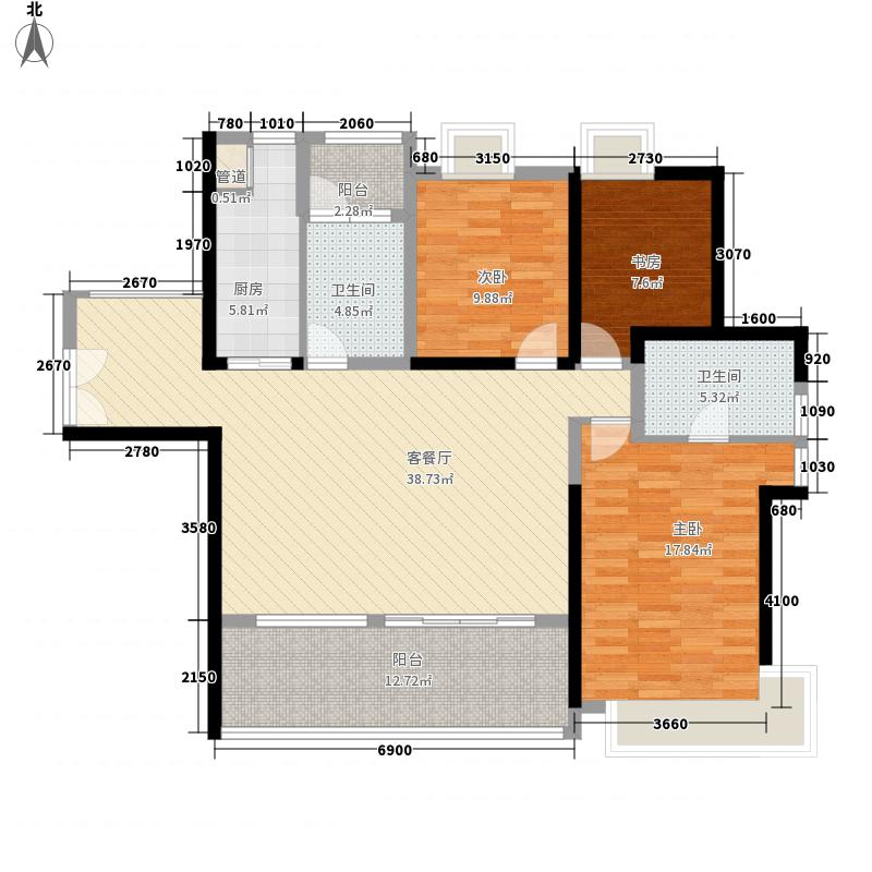 金地伊顿山122.31㎡1栋02户型3室2厅2卫1厨