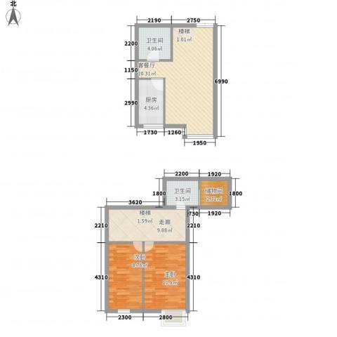 西岸国际2室1厅2卫1厨64.04㎡户型图