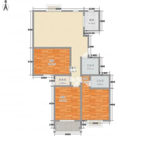 领汇双河湾3室1厅2卫1厨153.00㎡户型图