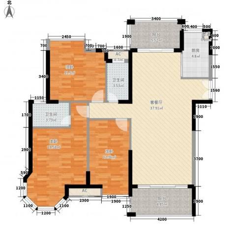 海景蓝湾3室1厅2卫1厨131.00㎡户型图