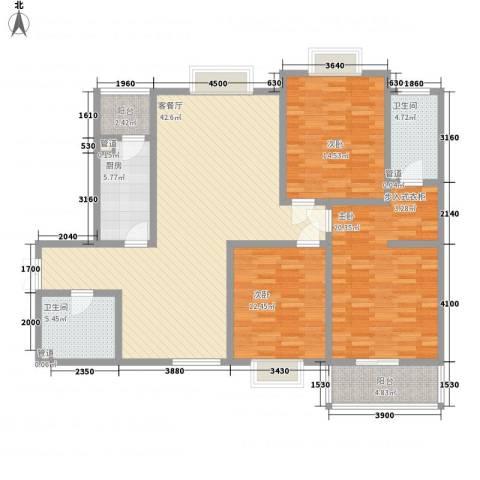 领汇双河湾3室1厅2卫1厨152.00㎡户型图