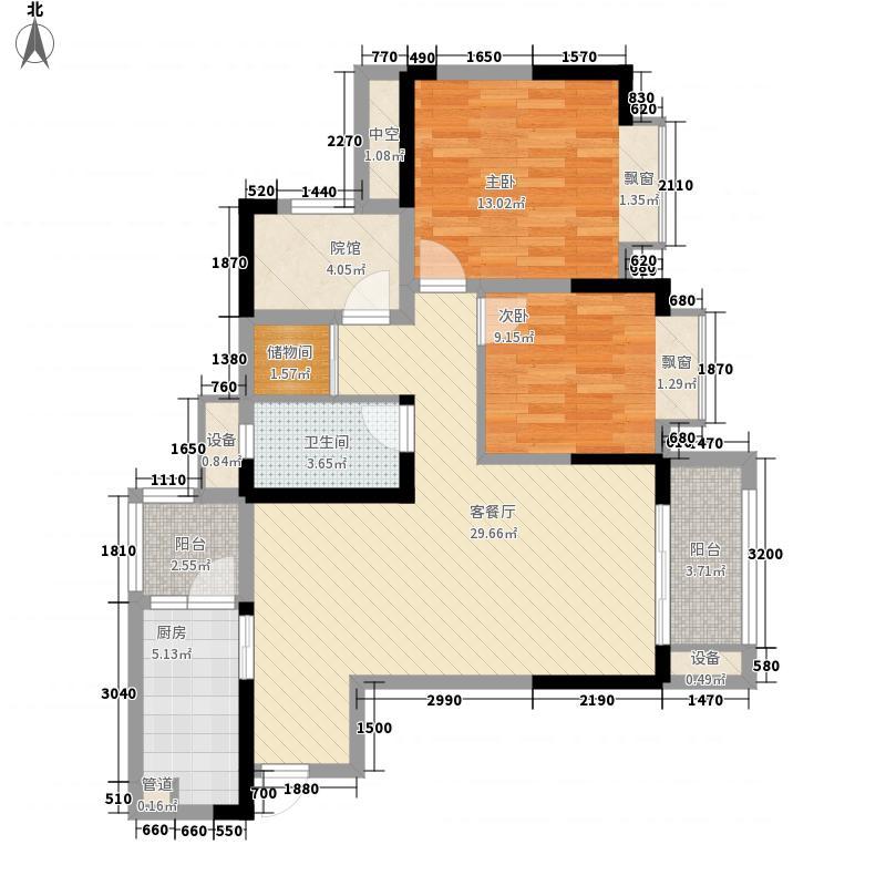 金茂珑悦74.98㎡二期9/8号楼标准层7号户型