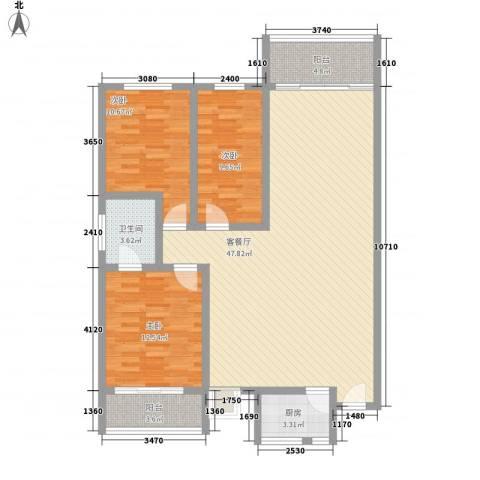 燕山豪园3室1厅1卫1厨135.00㎡户型图