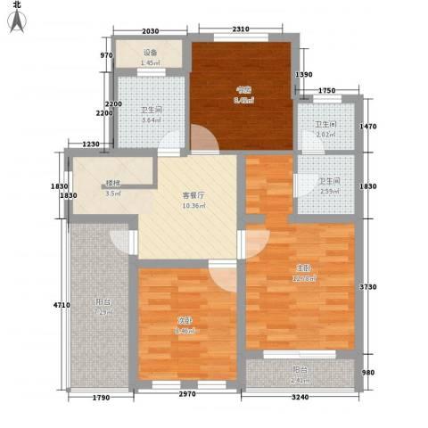 玖岛梦3室1厅3卫0厨88.00㎡户型图