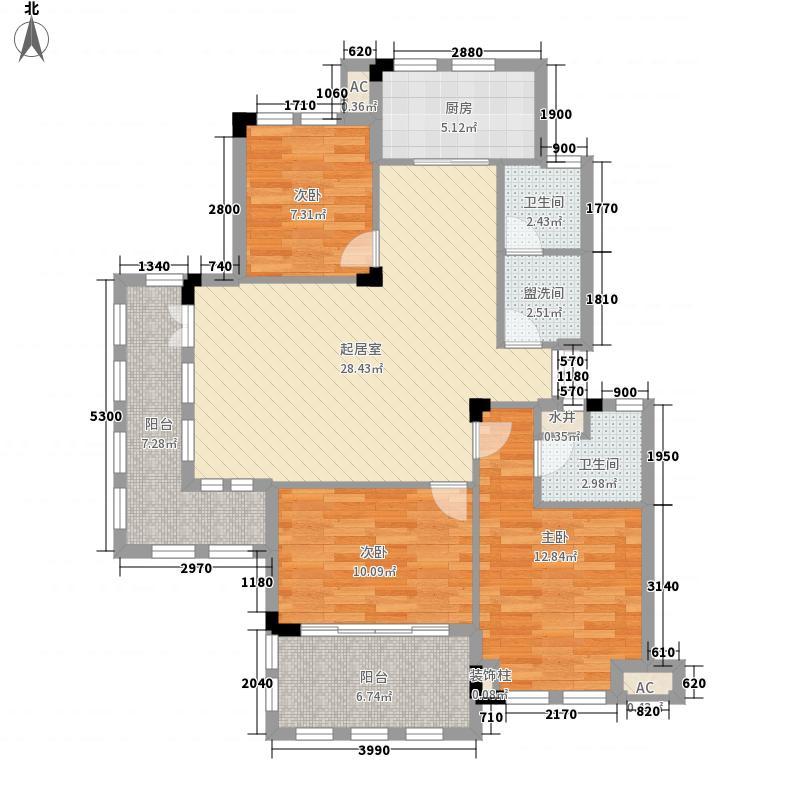 万城春天124.00㎡万城春天户型图11号楼01户型3室2厅2卫1厨户型3室2厅2卫1厨